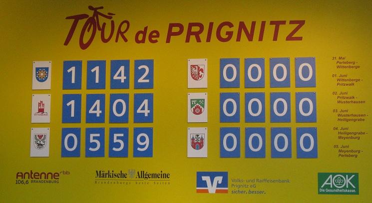 Punktestand nach Etappe 2 der Tour-de-Prignitz 2010 am 1-Juni-2010