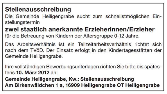 Stellenausschreibung-ErzieherInnen-KITA-Kindergarten-Kindertagesstaette-2012