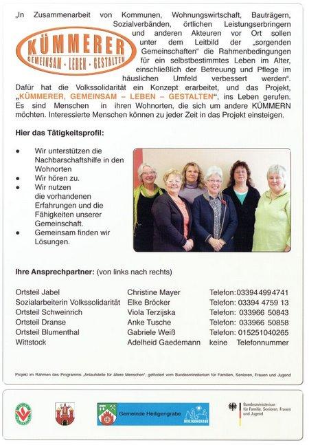 Volkssolidarität-Heiligengrabe-Wittstock Projekt Kümmerer 2014