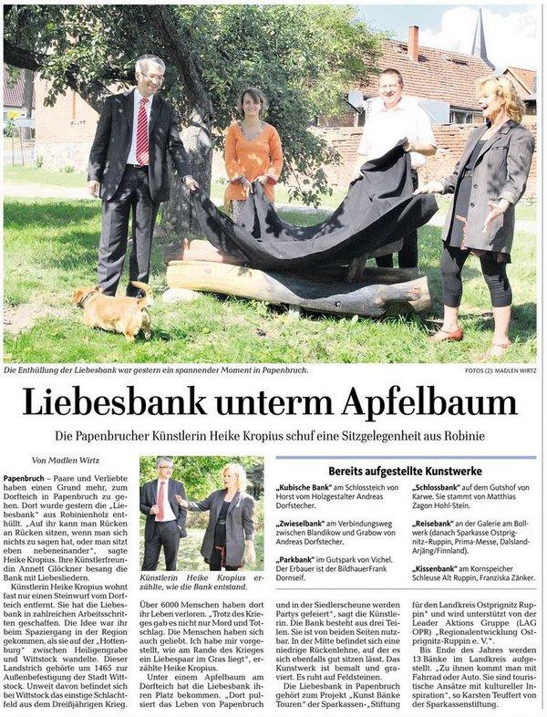Liebesbank Papenbruch - MAZ - Dosse-Kurier - 1