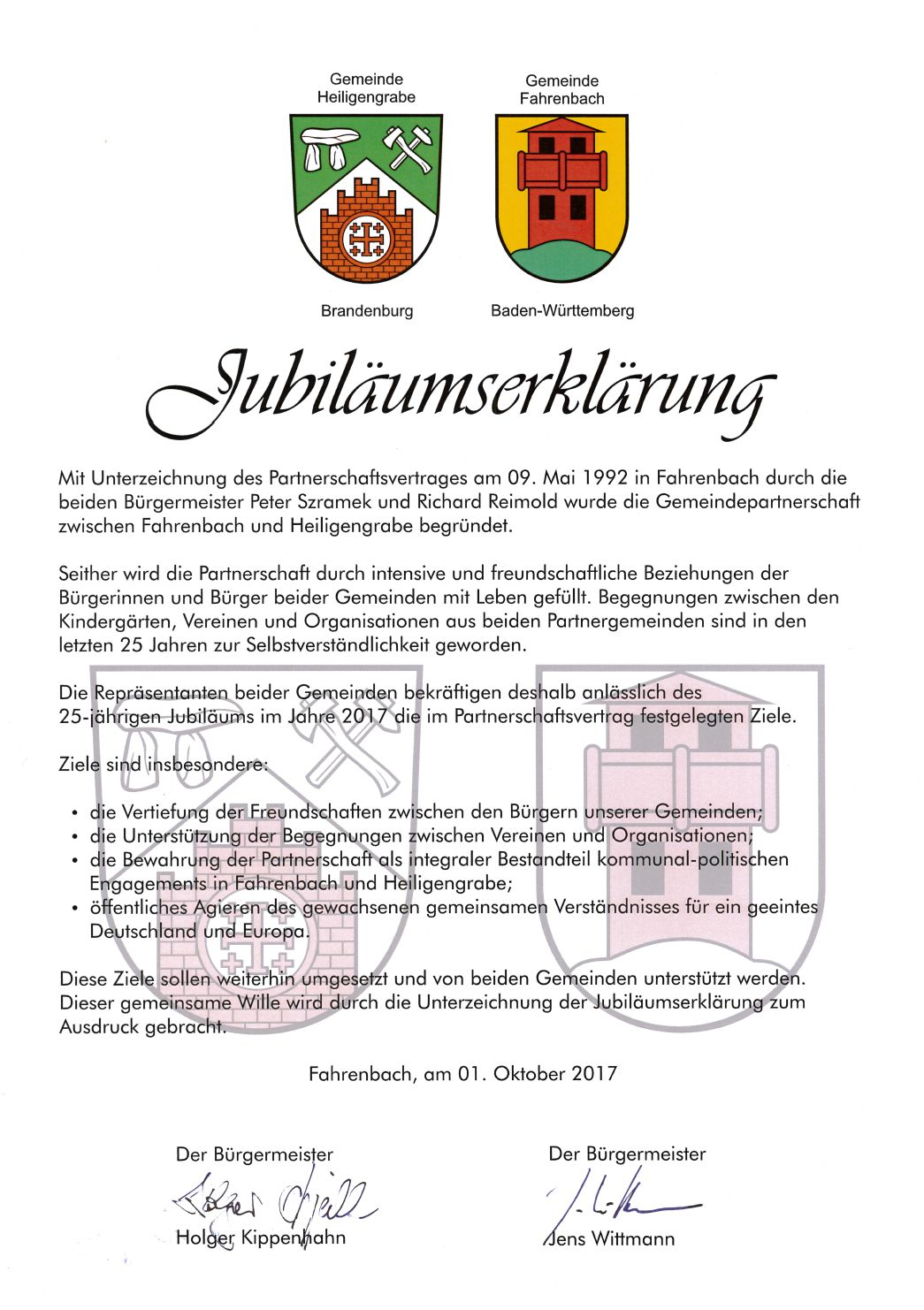 25 Jahre Partnerschaft zwischen Fahrenbach (BW) und Heiligengrabe ...